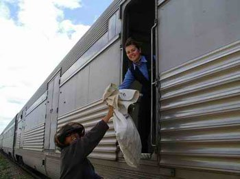 Indian Pacific picking up mail bag
